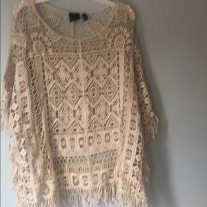 Rafaella embroidered lace cotton fringed shirt